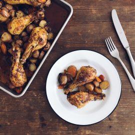 Coscette di pollo al forno con verdure